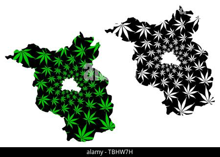 Brandenburg (Federal Republic of Germany, State of Germany) map is designed cannabis leaf green and black, Brandenburg map made of marijuana (marihuan - Stock Photo