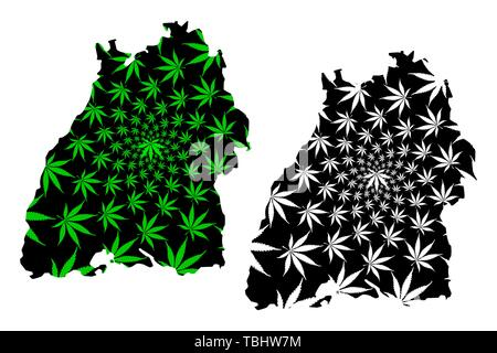 Baden-Wurttemberg (Federal Republic of Germany, State of Germany) map is designed cannabis leaf green and black, Baden-Wurttemberg (Baden-Württemberg) - Stock Photo
