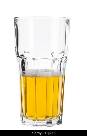 Pint glass half empty isolated against white background. File contains clipping path - Stock Photo