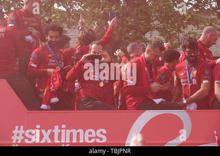 Liverpool, UK, 2nd June 2019. Liverpool players on a victory parade through the city after winning the Champions League Final against Tottenham in Madrid. Credit:Ken Biggs/Alamy Live News. - Stock Photo