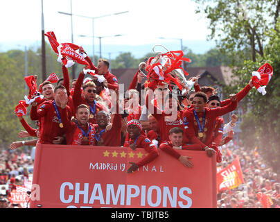 Liverpool, Merseyside. 2nd June, 2019. Liverpool FC celebration parade after their Champions League final win over Tottenham Hotspur in Madrid on 1st June; the Liverpool players wave scarves form the top deck of the team bus Credit: Action Plus Sports/Alamy Live News - Stock Photo