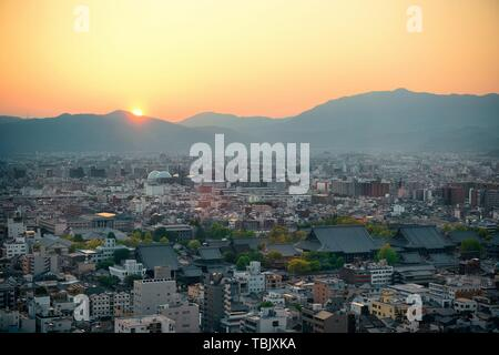 Kyoto city rooftop view from above. Japan. - Stock Photo