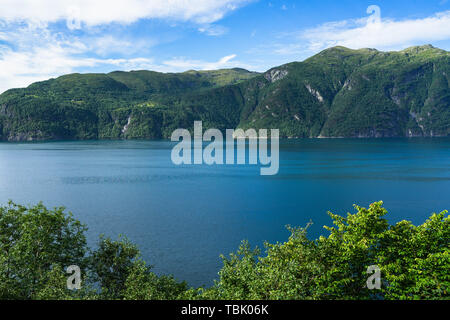 Amazing landscape of Storfjorden in Sunnmore region in a beautiful summer day, More og Romsdal, Norway - Stock Photo