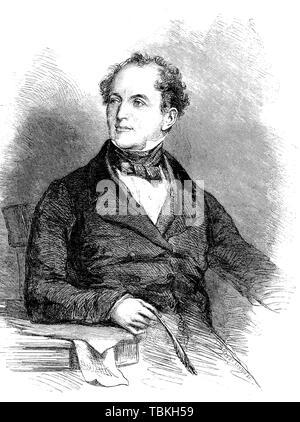 Thomas Moore, 1779-1852, an Irish poet, singer, songwriter, and entertainer, 1880, historical woodcut, Ireland - Stock Photo
