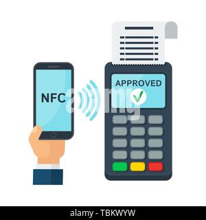 Contactless payment using RFID or NFC technology - Stock Photo