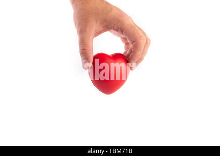 Hand holding and giving for donation on isolated white background. Healthcare and medical concept. - Stock Photo