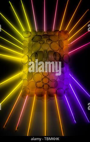 abstract neon lights and car headlights on wall - Stock Photo