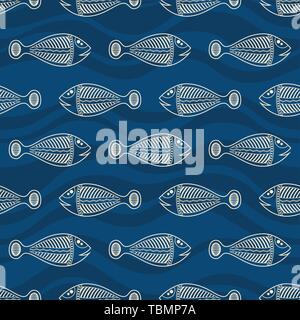 Seamless pattern of fishes silhouettes with abstract waves on background. Australian art. Aboriginal painting style. Vector color background. - Stock Photo