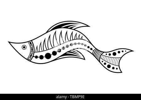 Fish. Aboriginal art style. Tatoo. Black and white logo. Vector monochrome illustration isolated on white background. - Stock Photo
