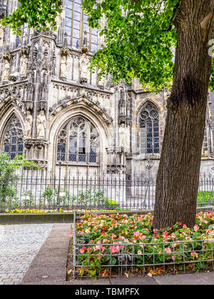 Aachen Cathedral exterior summer partial view, in Aachen, Germany - Stock Photo