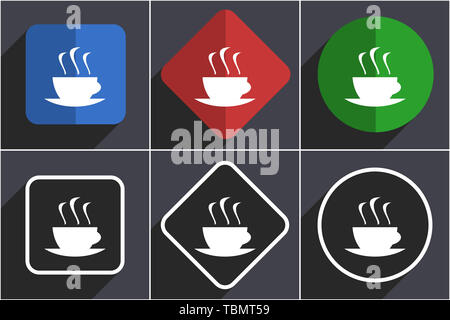 Coffee set of flat design web icons in 6 options - Stock Photo