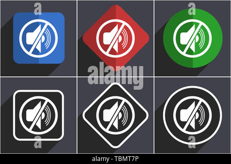Mute set of flat design web icons in 6 options - Stock Photo