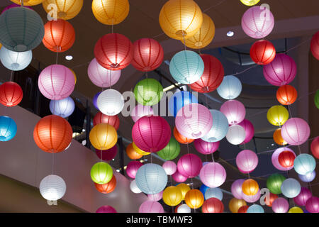 Sea of colorful lanterns - Stock Photo
