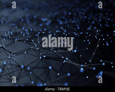 Abstract mesh line and point light block chain digital link network technology illuminated shape. Big data node base concept glow effect on black back - Stock Photo