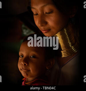A portrait of a family from Kayan - Stock Photo
