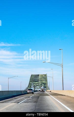 Philadelphia, Pennsylvania, USA - December, 2018 - Arriving in Philly by car from New York. Delaware River - Turnpike Toll Bridge. - Stock Photo