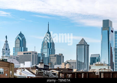 Philadelphia, Pennsylvania, USA - December, 2018 - Classic view of the Skyline and the top os the buildings Stock Photo