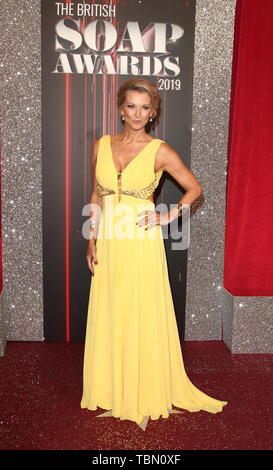 Gillian Taylforth arrives on the red carpet during The British Soap Awards 2019 at The Lowry, Media City, Salford in Manchester. - Stock Photo