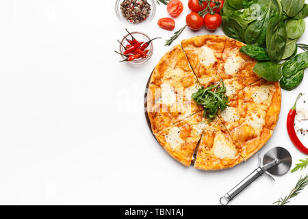 Fresh Cheesy Pizza Served On White Table - Stock Photo