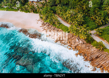 Aerial photo of bizarre paradise tropical beach at Seychelles. Summer vacation, travel and lifestyle concept - Stock Photo