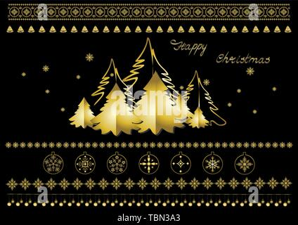 Collection of gold Christmas symbols, snowflakes, Christmas trees, borders, garlands, and greetings on a black background - Stock Photo