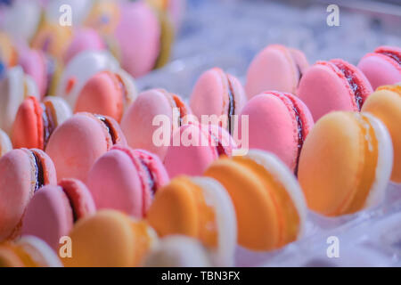 Colorful macarons in showcase of candy shop - Stock Photo