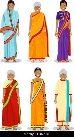 68ac7f46b0 Indian woman. Set of different standing old, adult and young women in the  traditional