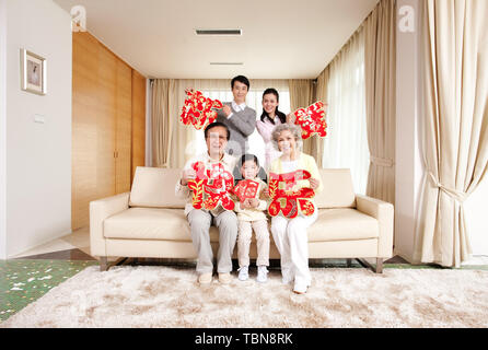 A family celebrating the Chinese New Year.