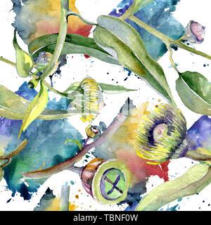 Eucalyptus floral botanical flowers. Wild spring leaf wildflower. Watercolor illustration set. Watercolour drawing fashion aquarelle. Seamless backgro - Stock Photo
