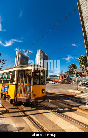 MILAN, ITALY - APRIL 28, 2017: Vintage tram ATM Class 1500 on the street of Milan, near Porta Nuova in Italy. It is a series of tram vehicles construc - Stock Photo