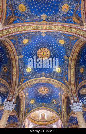 Interior view of the Church of All Nations or the Basilica of the Agony on the Mount of Olives, next to the Gardens of Gethsemane in Jerusalem - Stock Photo