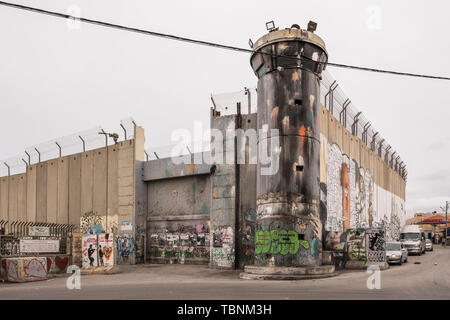 Separation wall between Israel and West Bank - Stock Photo