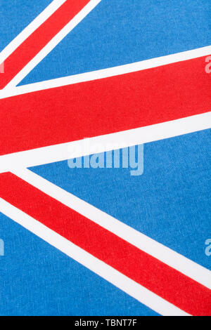 Abstract Union Jack view. Metaphor 'fly the flag', UK patriotism, abstract UK, UK elections, being British, True Brit, UK flag waving concept. - Stock Photo