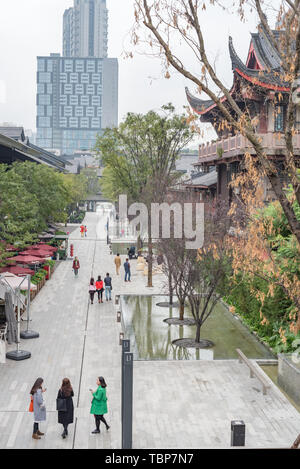 Chengdu,Sichuan province,China - Nov 13,2015: Taikooli commercial street aerial view with skyscrapers in the background - Stock Photo