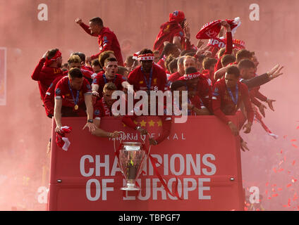 Liverpool, Merseyside. 2nd June, 2019. Liverpool FC celebration parade after their Champions League final win over Tottenham Hotspur in Madrid on 1st June; the team display the trophy at the front of the bus at the end of the route Credit: Action Plus Sports/Alamy Live News - Stock Photo