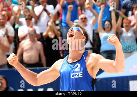 Ostrava, Czech Republic. 01st June, 2019. David Schweiner (Czech) is seen during the four-star J&T Banka Ostrava Beach Open 2019, part of the FIVB Beach Volleyball World Tour, in Ostrava, Czech Republic, on July 1, 2019. Credit: Petr Sznapka/CTK Photo/Alamy Live News - Stock Photo