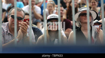 Ostrava, Czech Republic. 01st June, 2019. Fans are seen during the four-star J&T Banka Ostrava Beach Open 2019, part of the FIVB Beach Volleyball World Tour, in Ostrava, Czech Republic, on July 1, 2019. Credit: Petr Sznapka/CTK Photo/Alamy Live News - Stock Photo