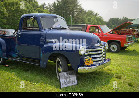 Old Westbury, New York, USA. 2nd June, 2019. The antique 1951 blue Chevrolet pickup truck, owned by Debbie Dugan of Glen Head, is an antique car entry on display at the 53rd Annual Spring Meet Antique Car Show, sponsored by the Greater NY Region (NYGR) of the Antique Car Club of America (AACA), at Old Westbury Gardens, a Long Island Gold Coast estate. Credit: Ann Parry/ZUMA Wire/Alamy Live News - Stock Photo