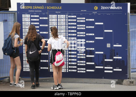 Ostrava, Czech Republic. 01st June, 2019. Schedule of the the four-star J&T Banka Ostrava Beach Open 2019, part of the FIVB Beach Volleyball World Tour, is seen in Ostrava, Czech Republic, on July 1, 2019. Credit: Petr Sznapka/CTK Photo/Alamy Live News - Stock Photo