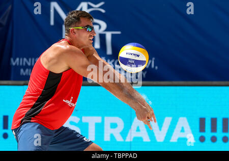 Ostrava, Czech Republic. 02nd June, 2019. Michal Bryl (Poland) in action during the four-star J&T Banka Ostrava Beach Open 2019, part of the FIVB Beach Volleyball World Tour, in Ostrava, Czech Republic, on July 2, 2019. Credit: Vladimir Prycek/CTK Photo/Alamy Live News - Stock Photo