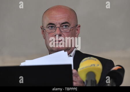 Prague, Czech Republic. 03rd June, 2019. Ivan Moravek, acting head of the National Gallery Prague (NGP), speaks during a press conference on the current situation in the gallery, on June 3, 2019, in Prague, Czech Republic. Credit: Vit Simanek/CTK Photo/Alamy Live News - Stock Photo