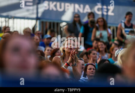 Ostrava, Czech Republic. 01st June, 2019. Fans are seen during the four-star J&T Banka Ostrava Beach Open 2019, part of the FIVB Beach Volleyball World Tour, in Ostrava, Czech Republic, on June 1, 2019. Credit: Petr Sznapka/CTK Photo/Alamy Live News - Stock Photo