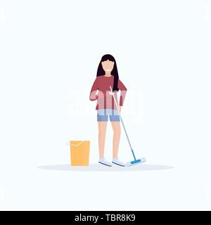 housewife mopping floor smiling woman cleaner holding mop cleaning service housework concept full length flat white background - Stock Photo