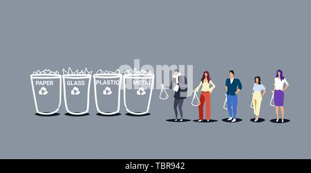 people putting garbage bags in different types of recycling bins segregate waste sorting management concept environment protection sketch doodle - Stock Photo