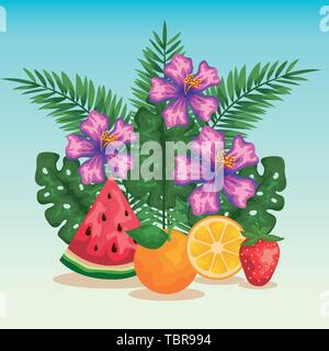 flowers with exotic fruits and tropical leaves - Stock Photo