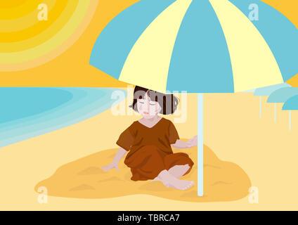 Beach little girl playing illustration - Stock Photo