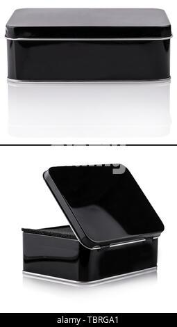 Set of black metal box close-up izolated on white background - Stock Photo