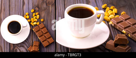 set of mug of coffee and chocolate with nuts on a wooden surface - Stock Photo
