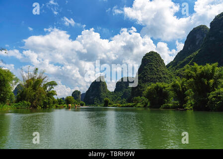 The Lijiang River in Guilin drifts through the Dragon River. - Stock Photo