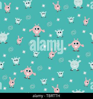 seamless pattern for kids c crazy cartoon cute alien monster on blue background for print and textile - Stock Photo